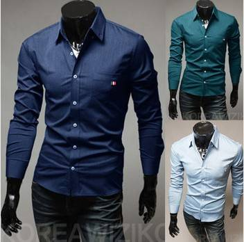 Mens Pure Color Shirt,Casual Slim Fashion Dress Shirts For Men