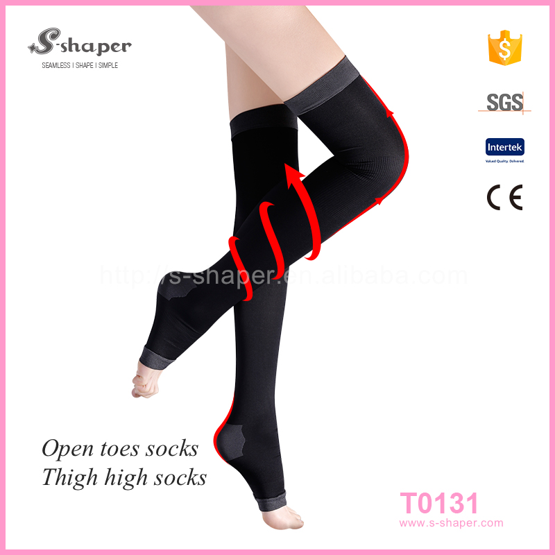 S - SHAPER Women Hosiery Compression Tight Sleep Thigh High Socks