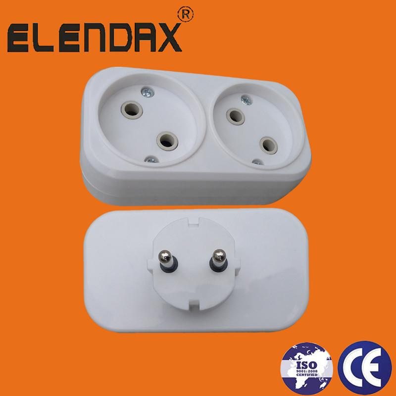 German Type 2 pin plug to 2 socket outlet(P8802)