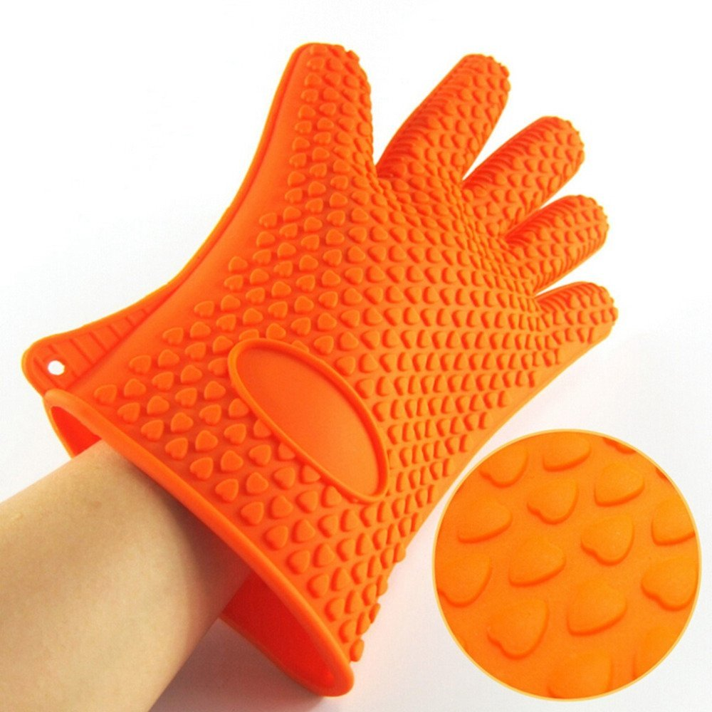 Silicone Oven Mitts - Pair of Best Heat Resistant Orange Silicone oven Gloves