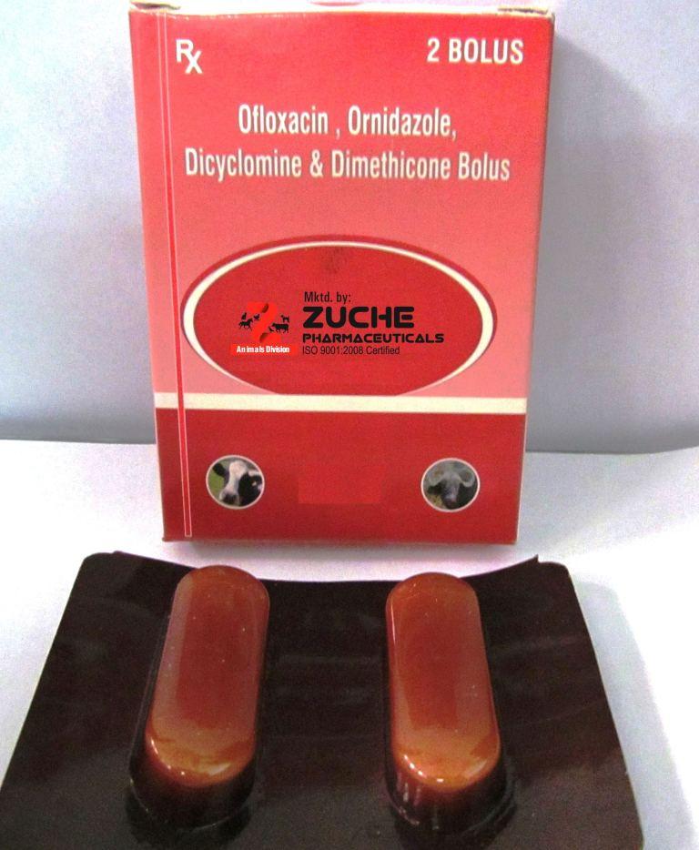 Veterinary Ofloxacin,Ornidazole,Dicyclomine & dimethicone Bolus