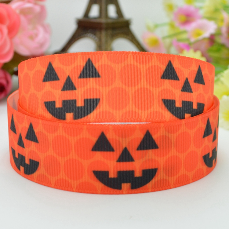 Halloween Pumpkin Cartoon Pattern Printed grosgrain ribbon