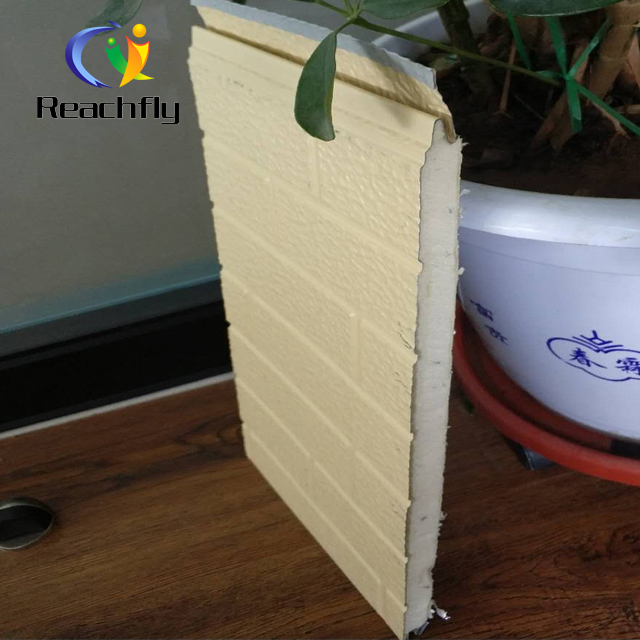 Fire resistant PU foam filled brick grain decorative sandwich wall panel