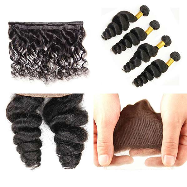 8A Indian Loose Tight Human Virgin Hair Weave 4 Bundles With Lace Closure