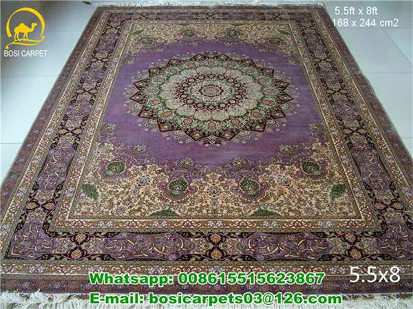 Purple Color 230lines handmade carpet 5.5x8ft new design silk rugs