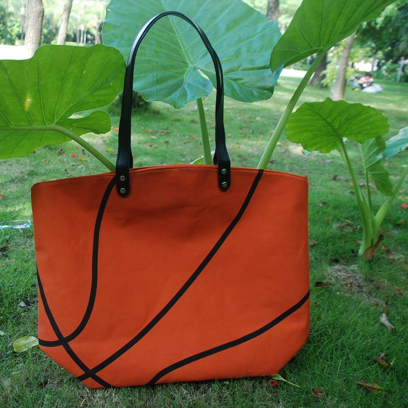 Large Capacity Basketball Pattern Woman Totes Bag Orange