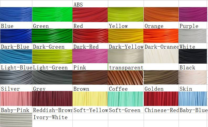 ABS many colors 3D Printing Filament,ABS materials 1.75mm 2.85mm 3.0mm
