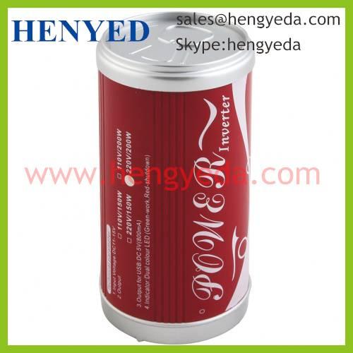 200W car power inverter with USB socket Coke shape(HYD-200CAN)