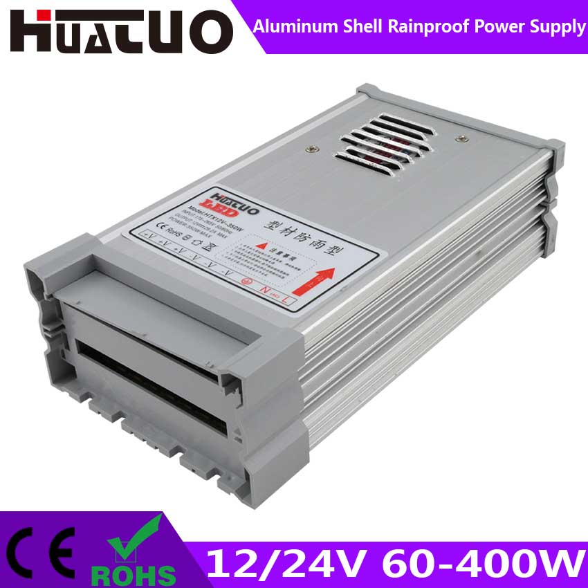 12/24V 60-400W constant voltage aluminum shell rainproof LED power