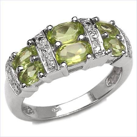 Elegant 1.98CTW Genuine Peridot .925 Sterling Silver Ring
