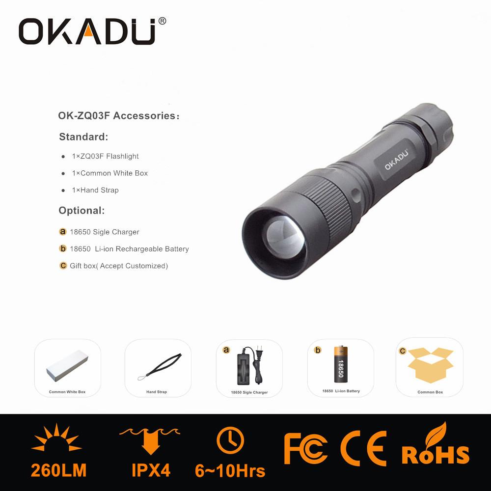 Cree LED Ratating Focus Flashlight Torch