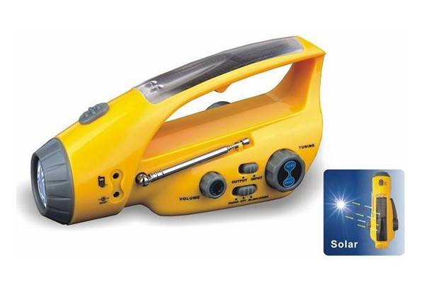 FL-288BS Solar+crank AC dynamo torch with FM radio, Charger for Cellphone