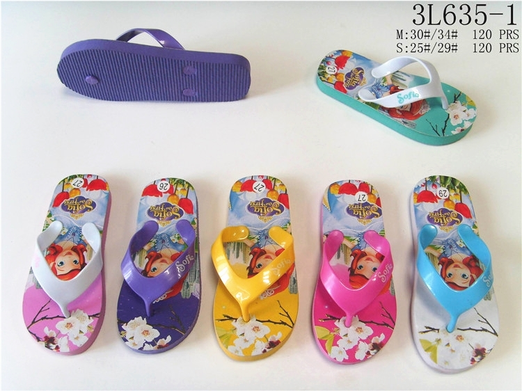 Summer cartoon princess printed multicolors eva flip flops slippers for kids girls