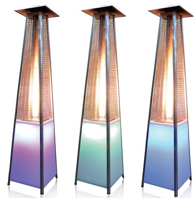 2015 New Product LED illuminating multicolor glass tube patio heater