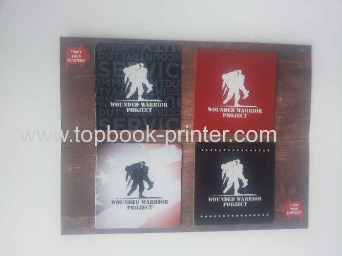 Custom 4-pack greyboard cup paper mats packed in envelope printing