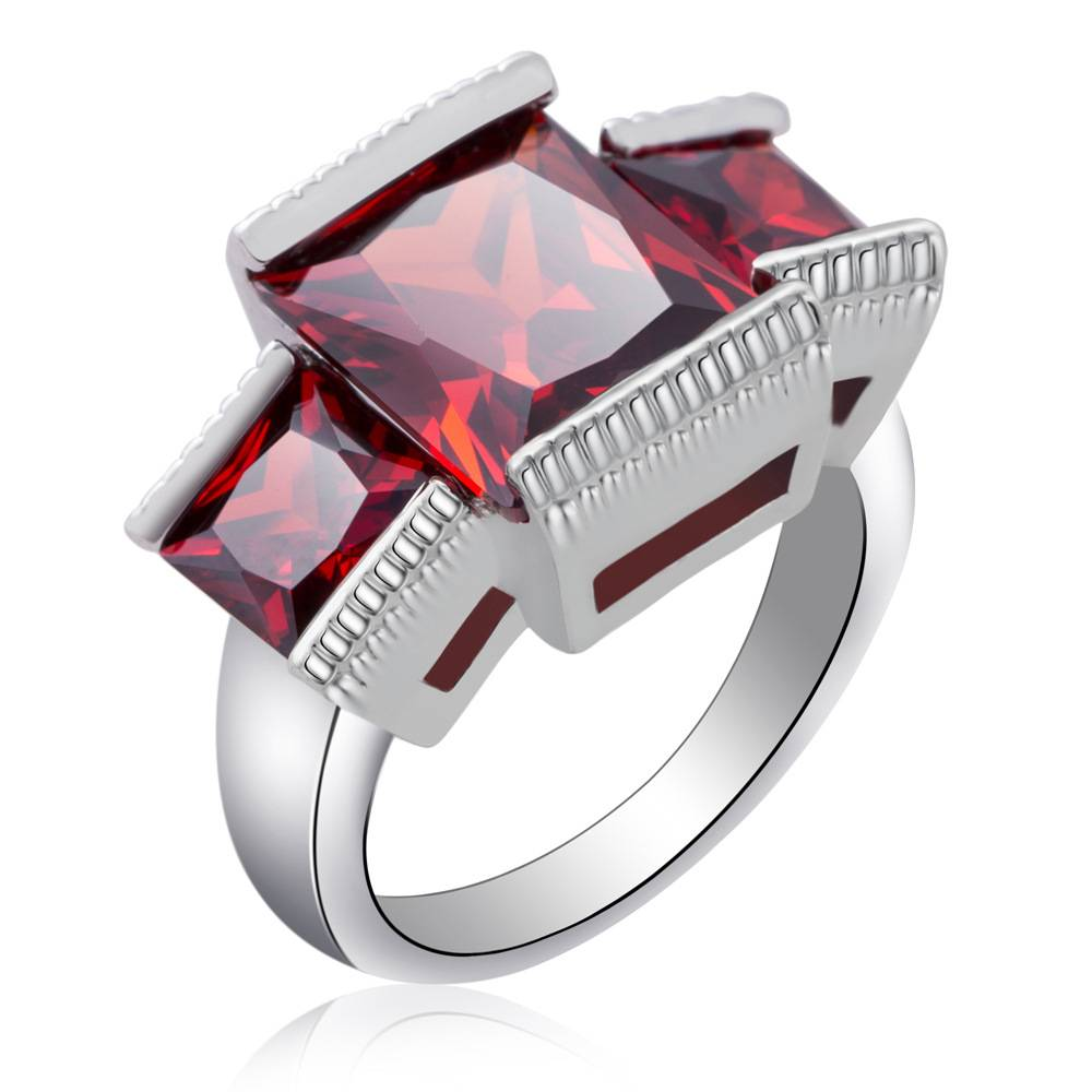 Fashion Women Ruby Zircon Wedding Rings