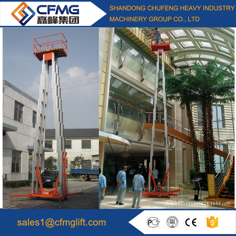 double mast aluminium building cleaning lift