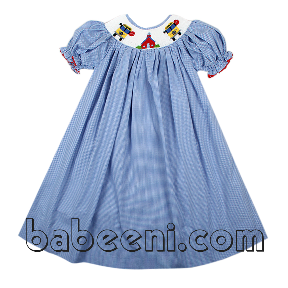 Blue gingham girl smocked dress - DR 1723