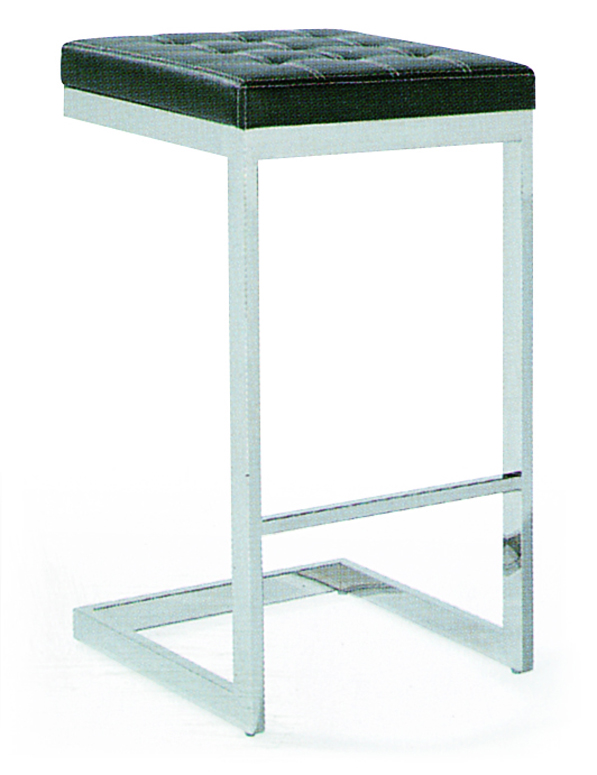 SHIMING FURNITURE MS-3223 Black seated bar chair with stainless steel foot