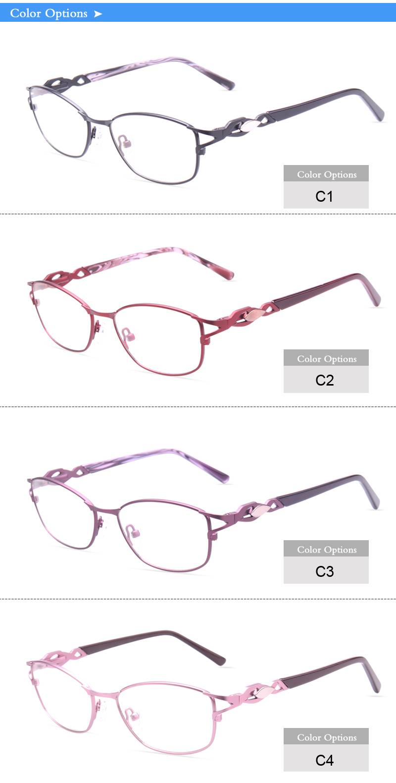 Fashion design flexible super light weight eyeglass stainless steel metal optical frame ready in sto