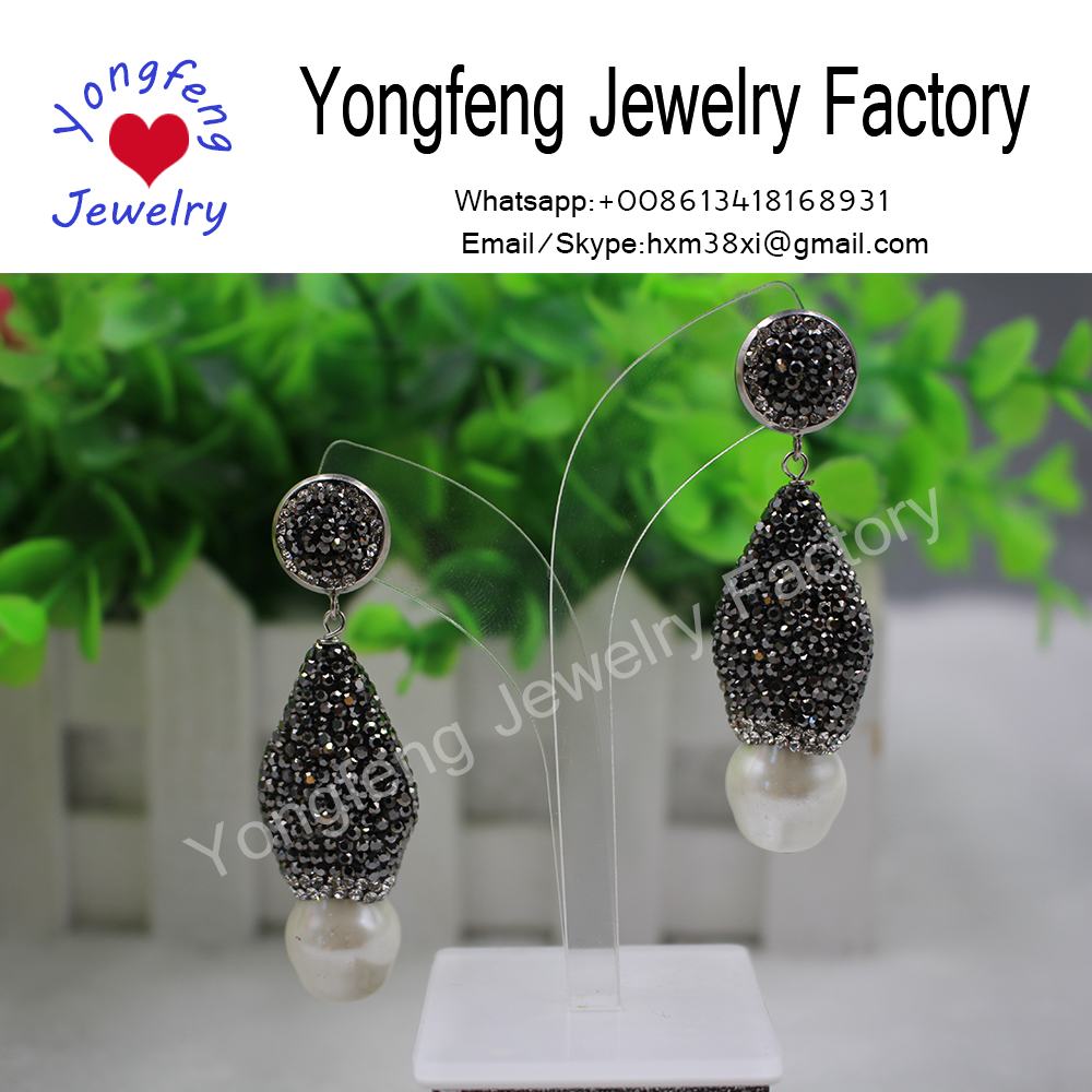 Wholesale teardrop freshwater pearl and rhinestone dangle earrings