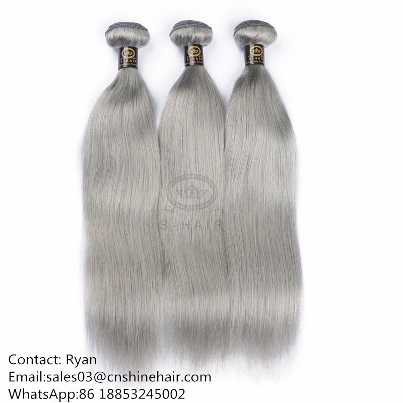 Human Hair Bundles #Gray Straight Style