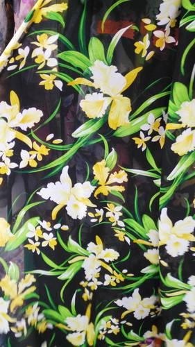 The black flower export of high-quality printing thin chiffon fabric Japan original Georgette dress