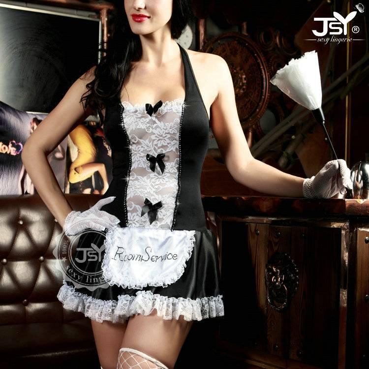 Very Hot erotic French Girls Sexy Maid Costume Lingerie For Cosplay club
