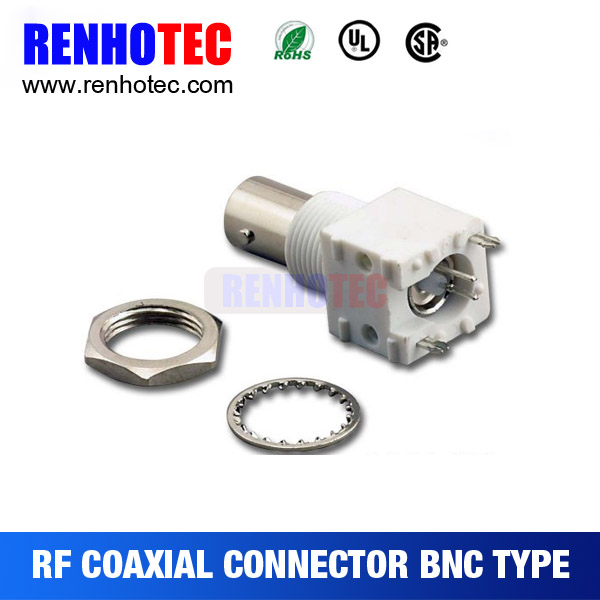 Straight or Right Angle White Plastic BNC Jack PCB Mount for TV