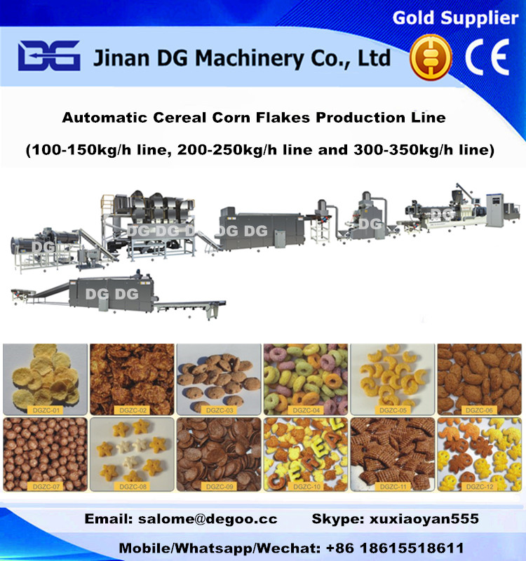 Extruded breakfast cereal corn flakes/flex extrusion machinery production plant