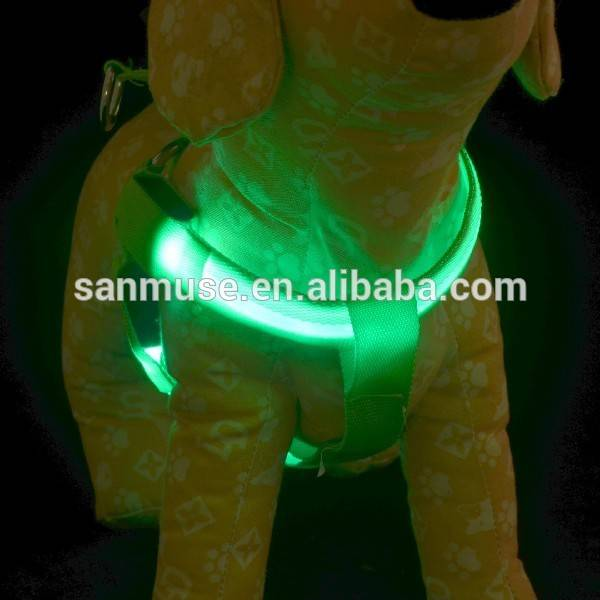 Night Safety Nylon Flashing Light Up Adjustable Pet LED Dog Harness