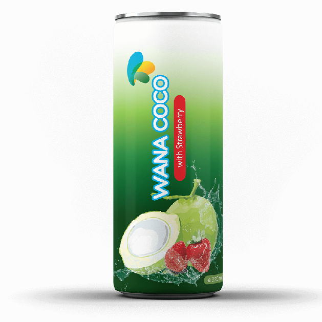 King Coconut Water With Strawberry Canned Vietnam Beverage Factory 320ml