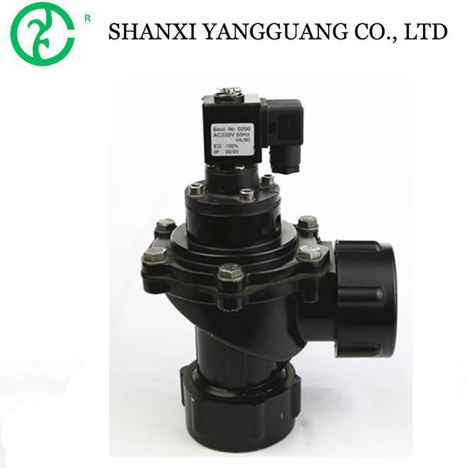 Diaphragm reducing pneumatic angle valve solenoid