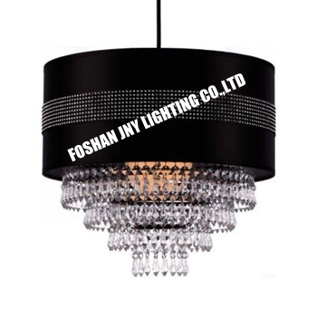 Modern Cylinder Ceiling Pendant Light Shade with Clear Acrylic Jewel Effect Droplets