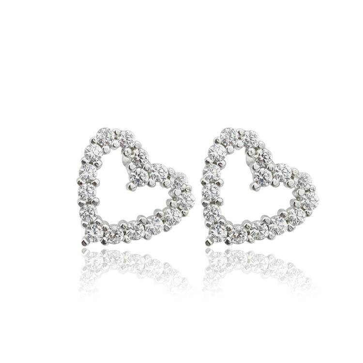 New Items Jewelry Eearrings Double Heart Earrings 925 Silver Earrings for Lady Gift