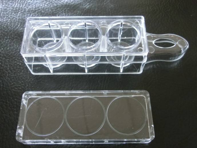 3 holes cell culture dish