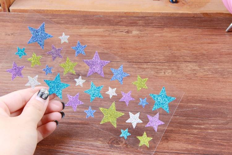 Fashionable non-toxic glittering sticker star shape or customized design stickers