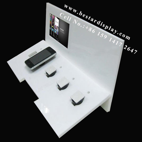 Plexiglass PMMA acrylic mobile phone display stand with LCD screen