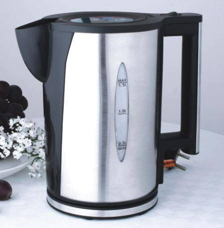 1.5L Double Wall Electric Kettle,see-throuh top lid