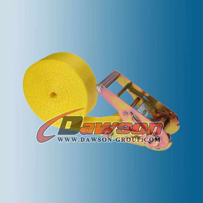 2 Inch 20 Feet Yellow Heavy Duty Straps Ratchet Tie Down Strap