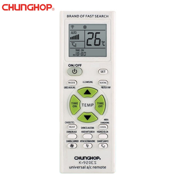 Chunghop K-920ES Big Display Universal Air Conditioner Remote Control 1000 in 1