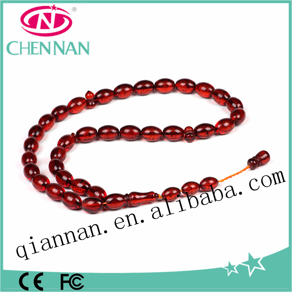 pujiang factory new arrival fashion asia red muslim amber tesbih prayer bracelet