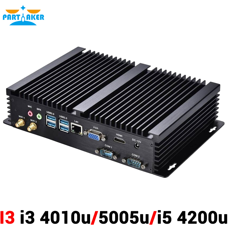 2 COM Industrial Rugged Mini PC Server with Intel Core i3 4010u 5005u i5 4200u Processor 4USB3.0 Wi