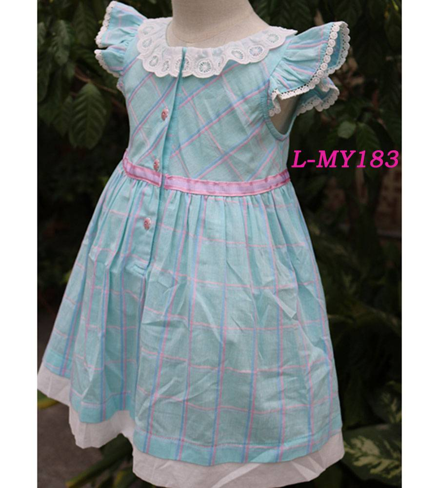 Cotton blue checked 4 year old girl dress lace neck baby dress cutting laciness sleeve baby dress ne