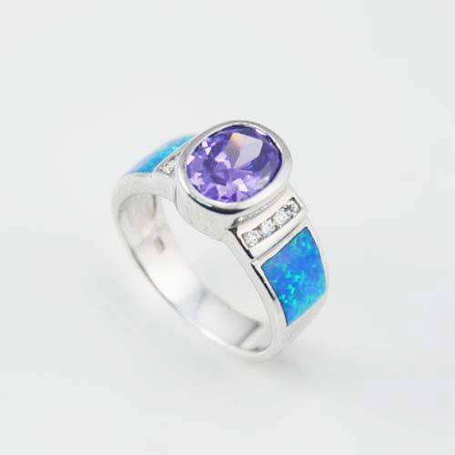 Factory wholesale fashion jewelry silver opal ring