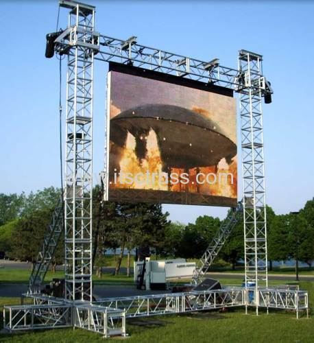 Outdoor truss system for heavy duty LED screen support