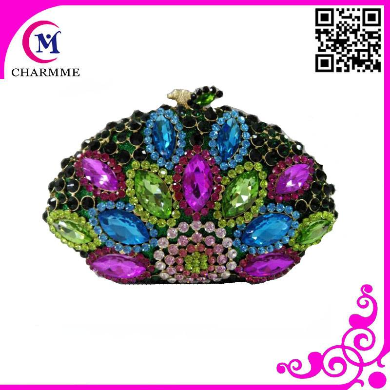 Newest Peacock Design CT0049 Cute Pure manualladies indian traditional clutch purse for wedding/part