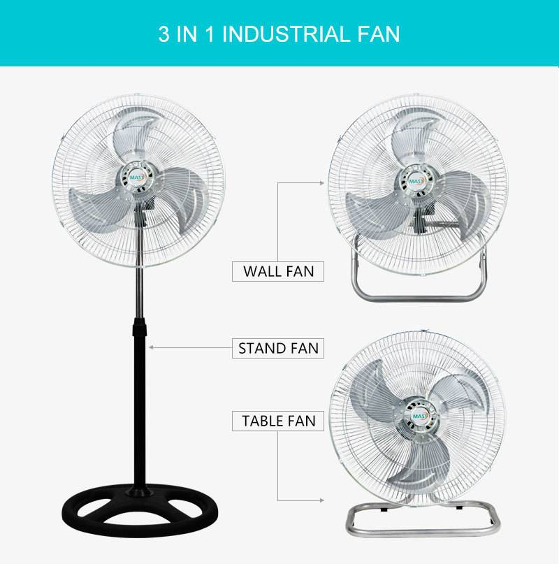 Industrial 3 in 1 standing fan with strong base - Can be converted into table fan and wall fan