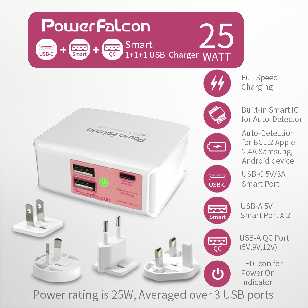25W Smart 1+1(USB-C)+1(QC2.0) port Charger/interchangable