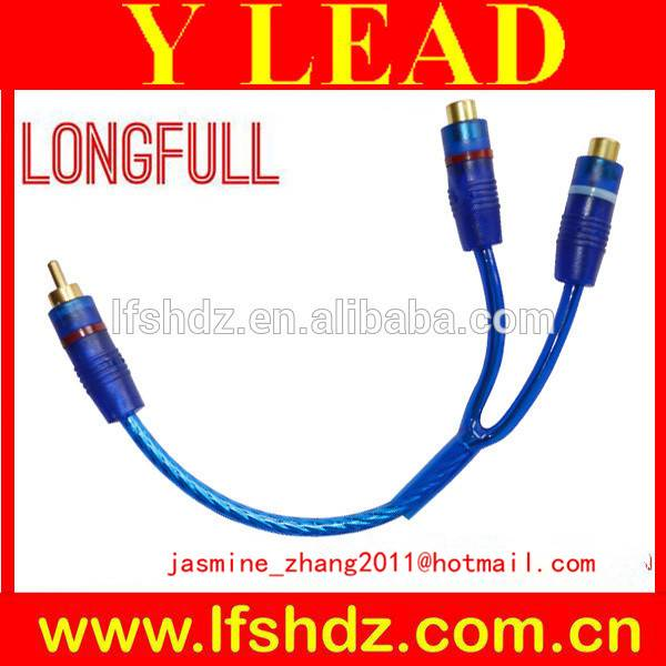 transparent clear blue Y shaped lead cable(1rca male to 2rca female)